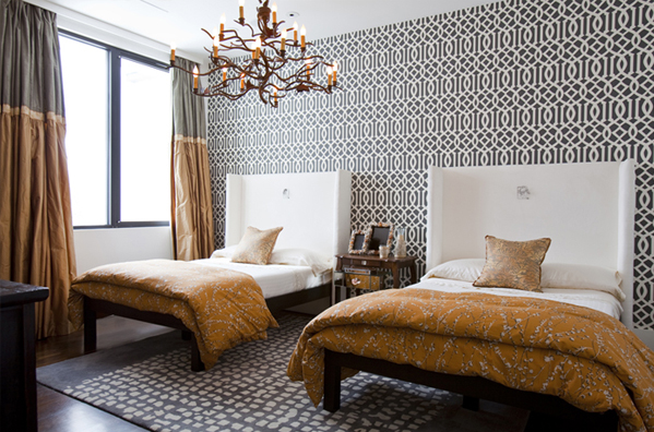 Coco's Room.  Dramatic black / white pattern tempered by satiny fabrics in rust and pearl. Design by Lucinda Loya.